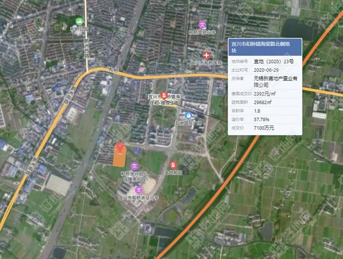 宜兴和桥一地块出让,上限总约1.59亿元!上限单价约3879元/㎡!